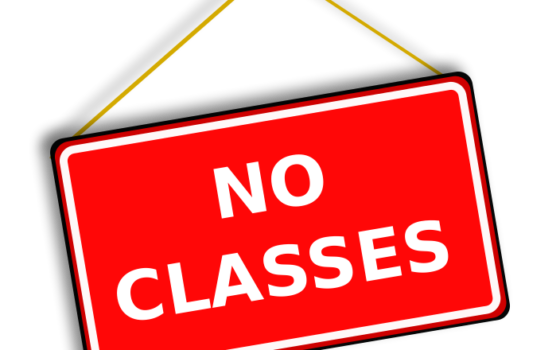No classes next week Monday and Tuesday Nov. 12th and 13th (Yorkminster Park location only)